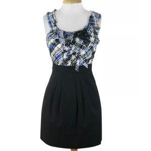 BCBG MAXAZRIA Larkspur Blue Combo Silk Dress 6